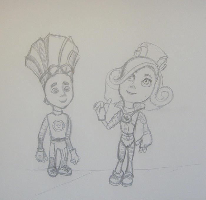 На лице персонажа нарисуйте большие глаза, нос и маленький рот. Затем прорисуйте объемную прическу