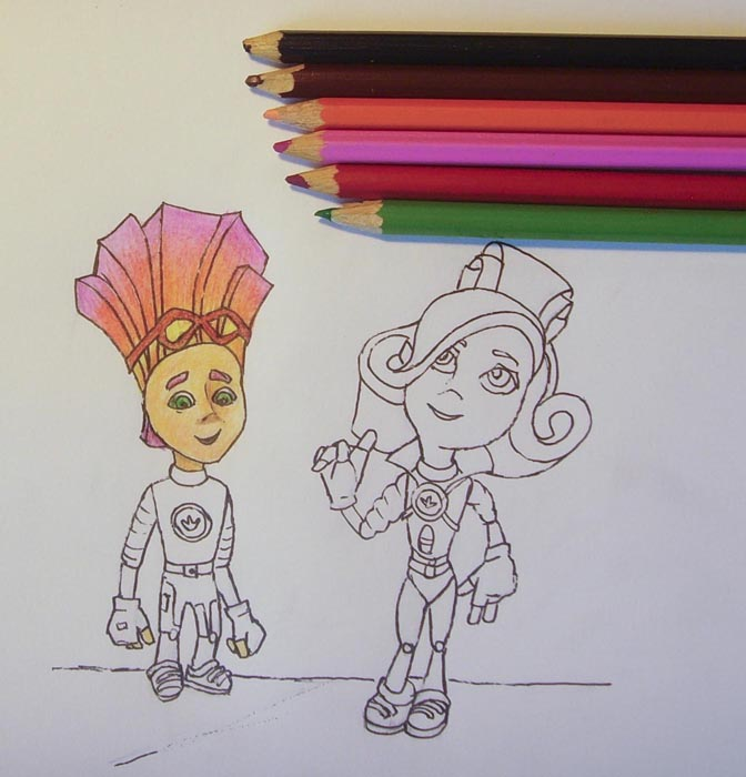 Раскрасьте лицо персонажа и открытые участки его тела карандашом телесного оттенка. Тени лицу придайте, воспользовавшись коричневым цветом. Затем раскрасьте его глаза, рот и брови