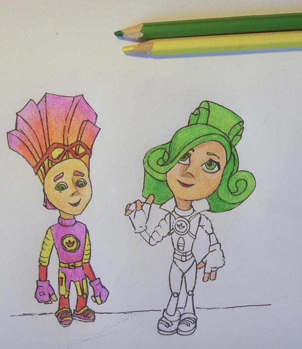 Раскрасьте волосы персонажа, смешивая зеленый и желтый тона