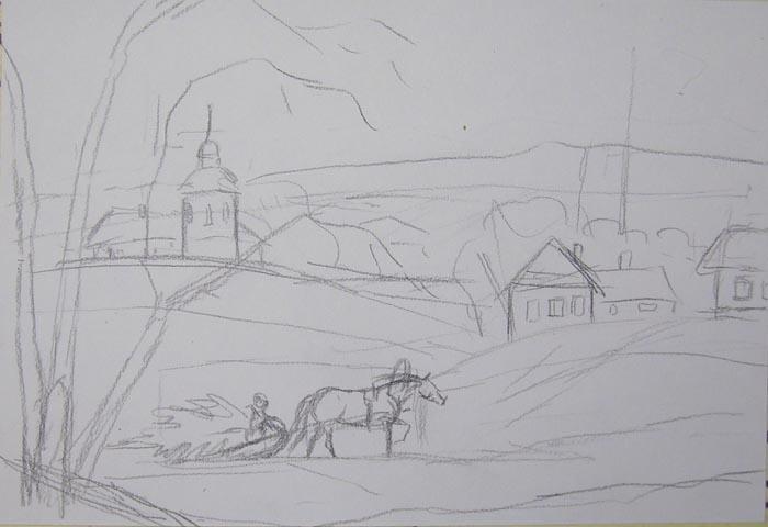 Прорисуйте сани, лошадь и ёлку на санях