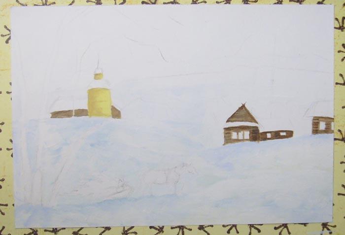 Раскрасьте дома и церковь