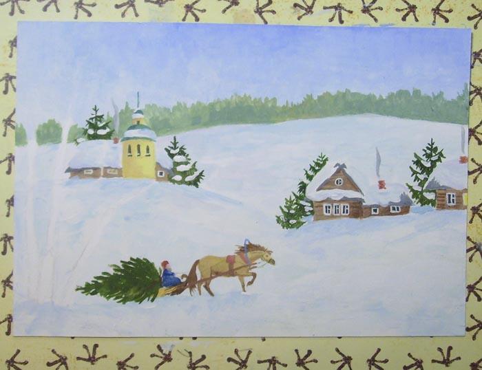 Прорисуйте дым и снег, лежащий на ветках ёлок