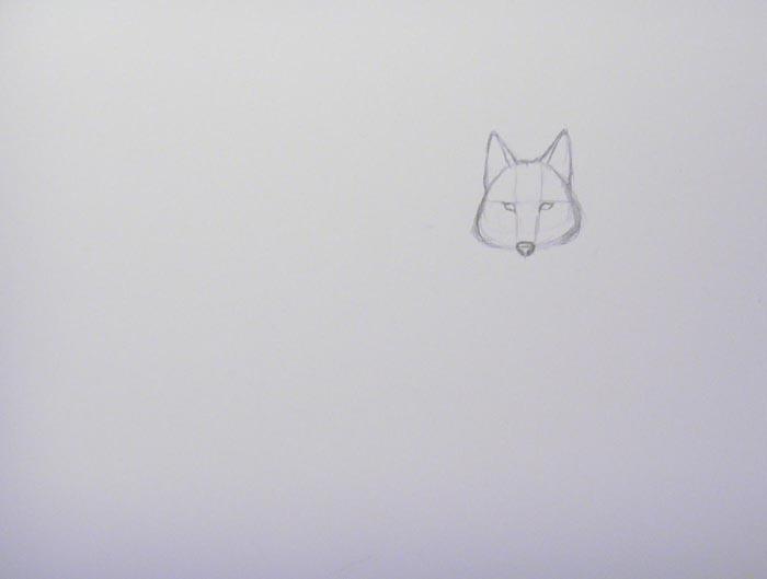 Наметьте расположение глаз и носа волка