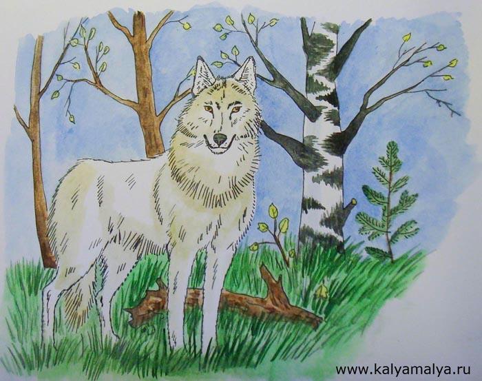 Нос волка раскрасьте черной краской, а глаза – светло-коричневой. Светло-коричневой краской местами закрасьте тело животного