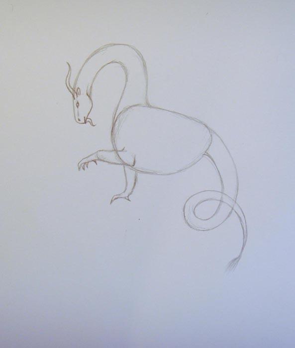 Нарисуйте длинный извивающийся хвост. Пририсуйте к телу дракона передние лапы