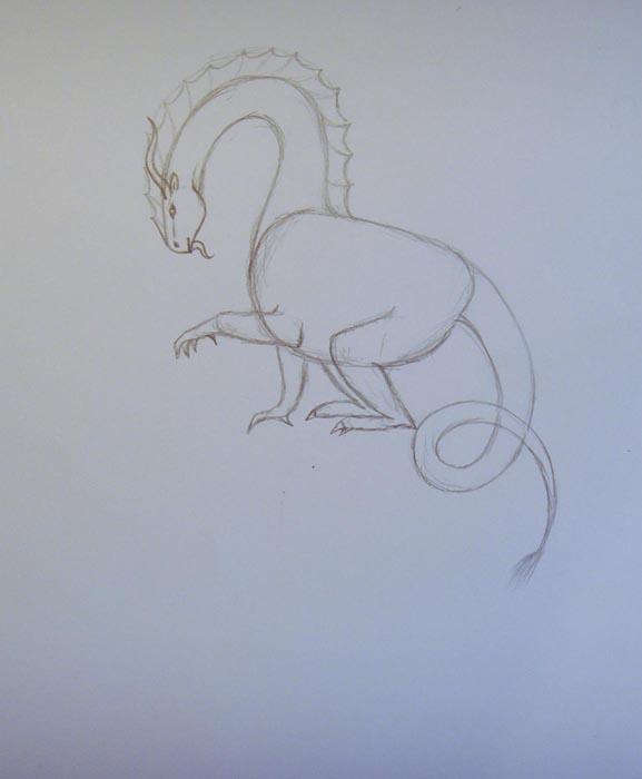 Изобразите зазубрины на шее и голове  дракона