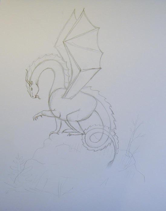 Изобразите зазубрины на спине дракона и на его хвосте. Легкими штрихами обозначьте очертания окружающего пейзажа