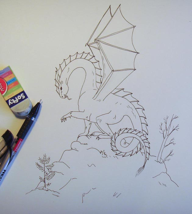 Обведите рисунок дракона ручкой, а затем ластиком сотрите набросок