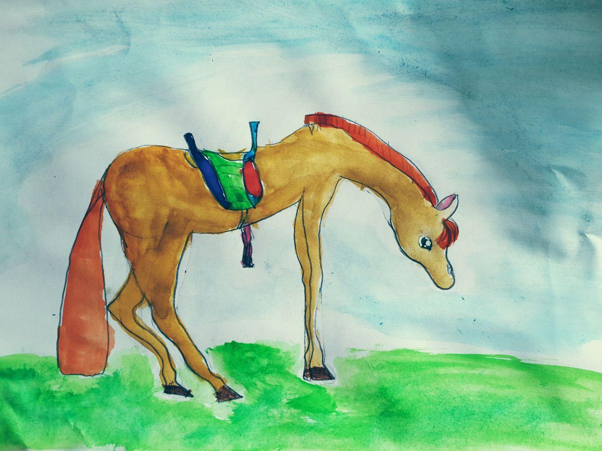Лошадь на лугу.