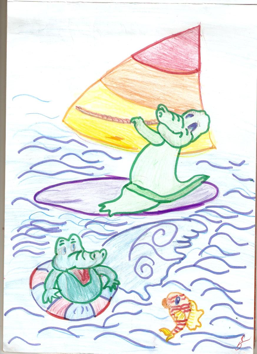 крокодилы на море