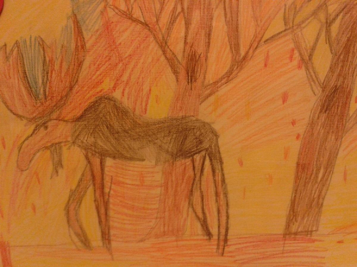 Лось в осеннем лесу