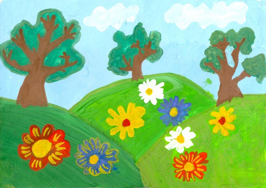Лето рисунок легкий