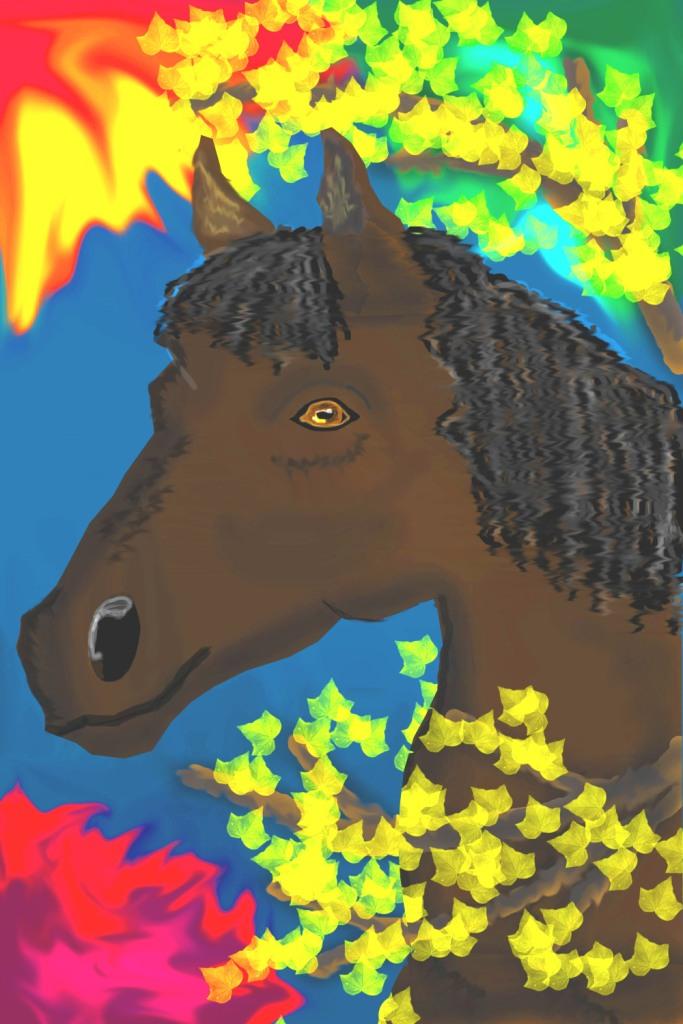 Лошадка в осенней листве
