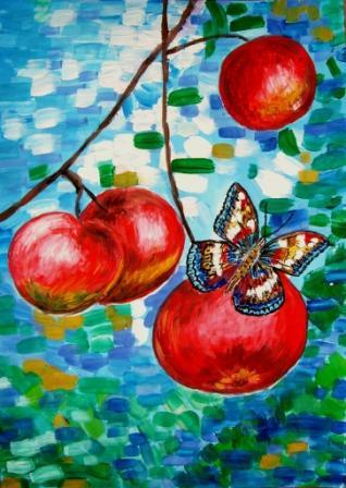 Бабочка в яблоках