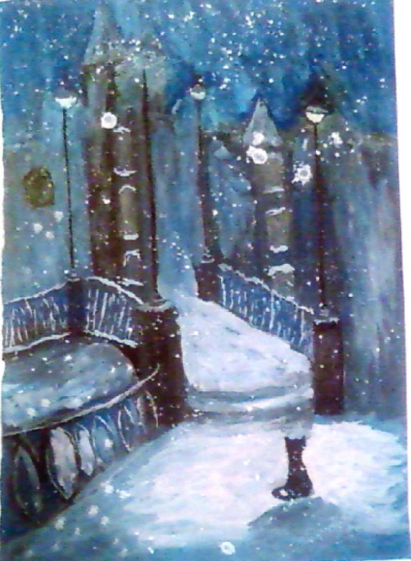 Одинокий кот в снегопад