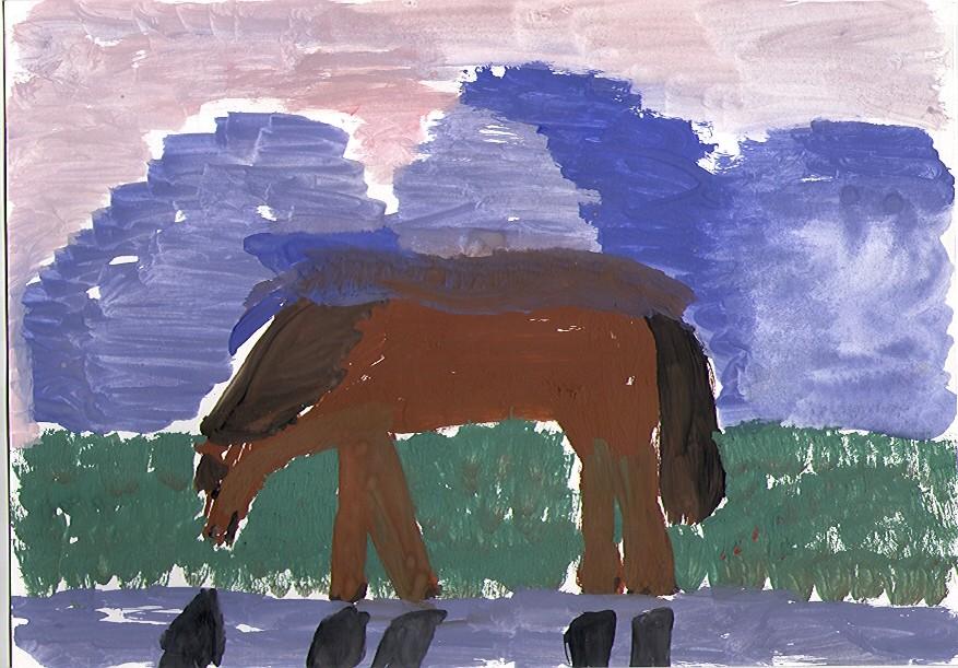 Алтайские горы с лошадью
