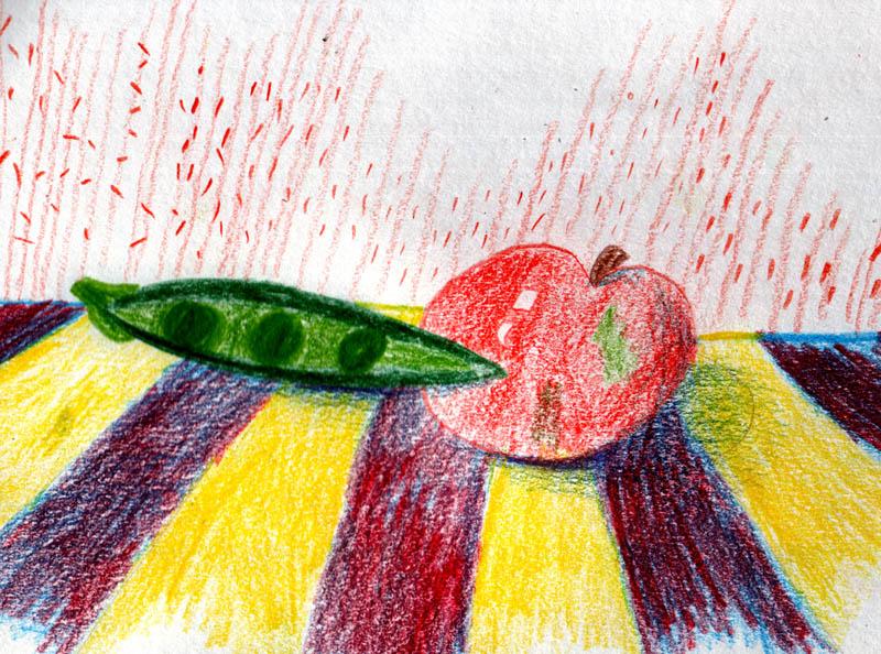 горох и яблоко