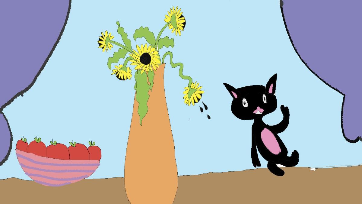 Черный кот и подсолнухи