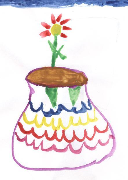 Ваза с цветком рисунок карандашом