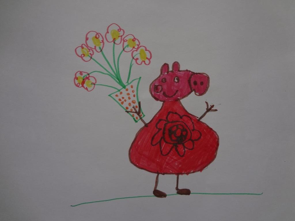 Свинка Пеппа с букетом цветов
