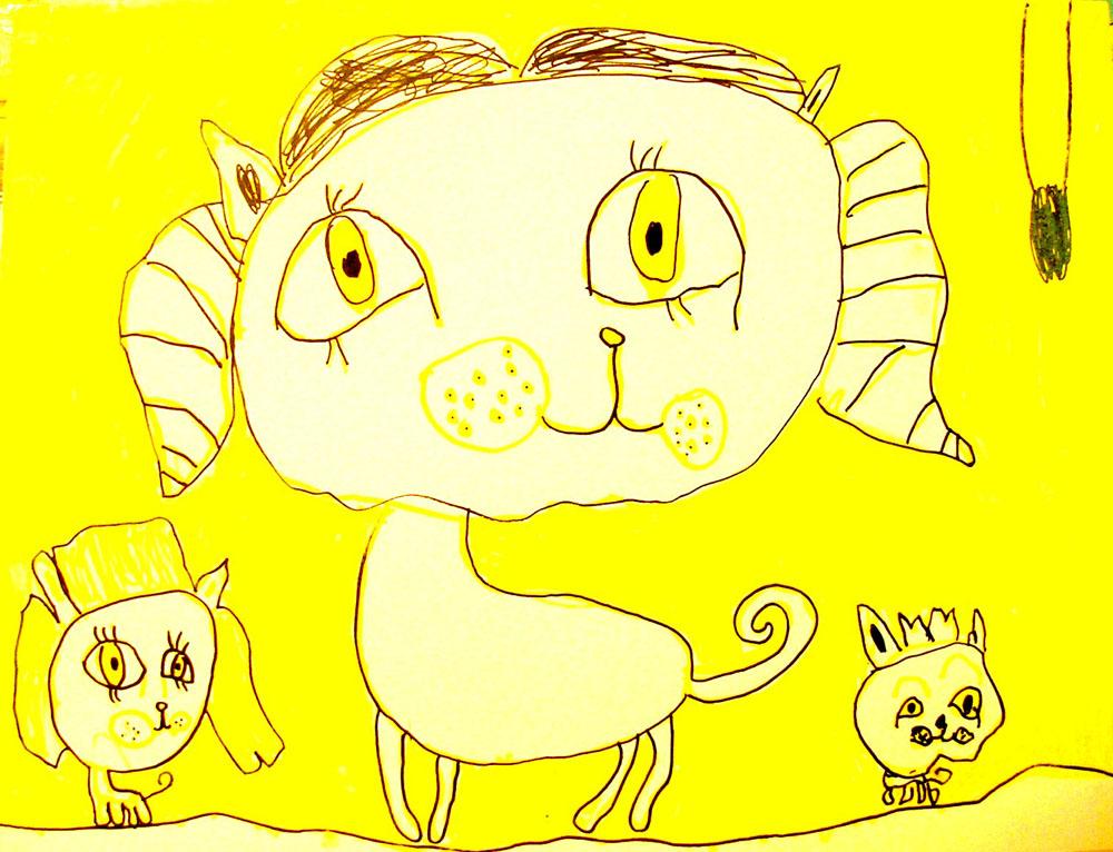 собачка-мама с детишками