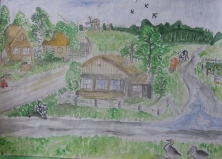 Деревня. Рисунок девочки 11 лет.