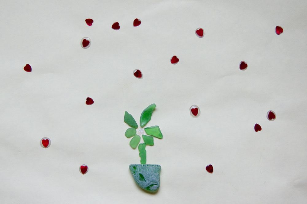 Цветок из стёклышек