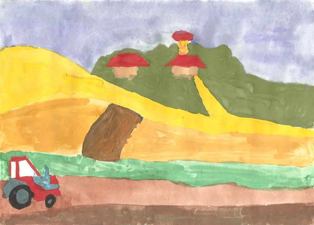 Трактор на просёлочной дороге