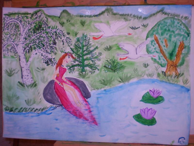 Девушка у лесного озера
