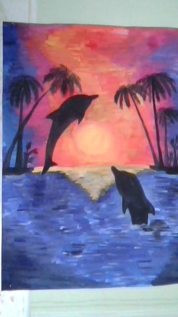 Дельфины. Закат.