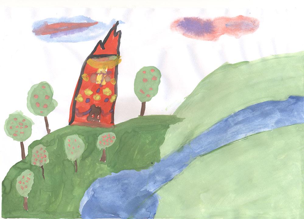 Замок с красивым яблочным садом